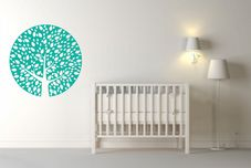 Stunning Cut Vinyl Tree Wall Decal Handmade Design Pastel Colours